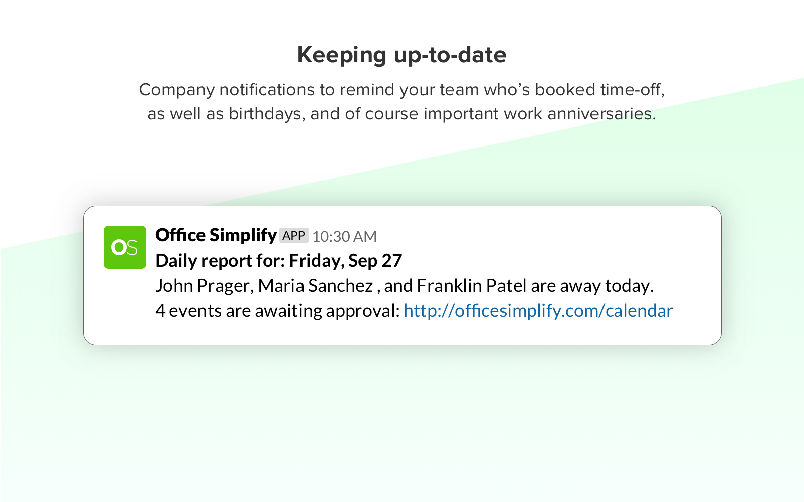Slack daily notifications
